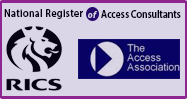 National Register of Access Consultants, RICS and The Access Association logos